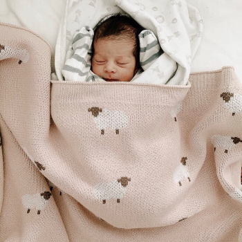 Knitted baby blanket ANIMAL SHEEPS Pink