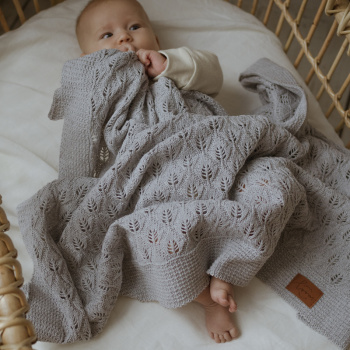 Knitted baby blanket FLORA Silver