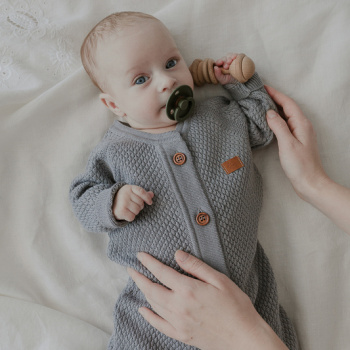 Knitted texture overalls Grey