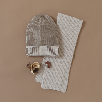 Wale pattern two-color merino wool hat Cashew/beige