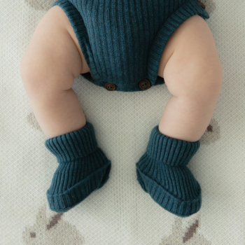 Wale pattern merino wool baby shoes Turquoise